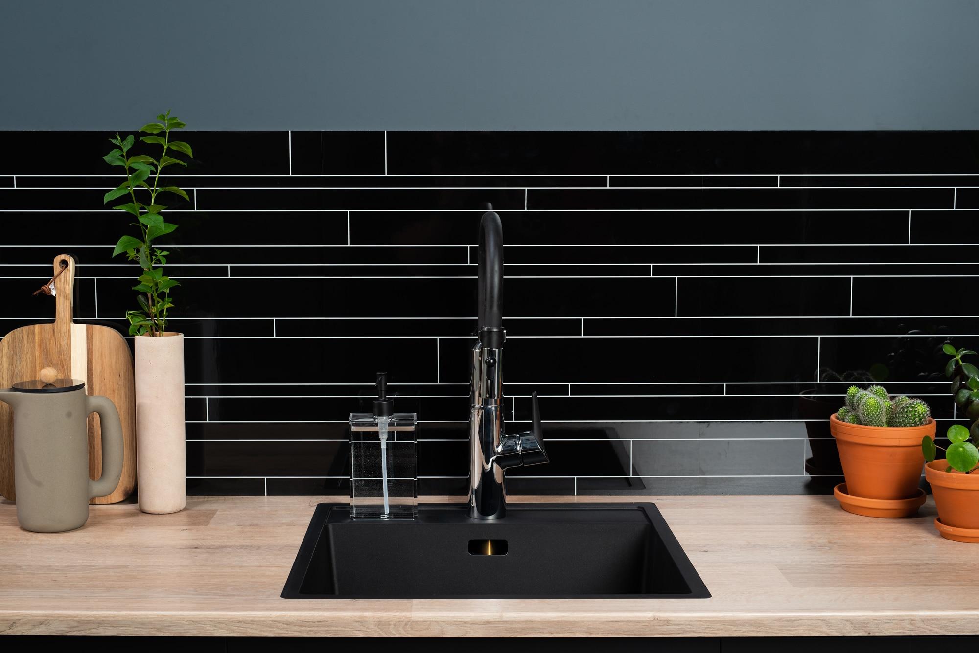 Black tile kitchen splashback